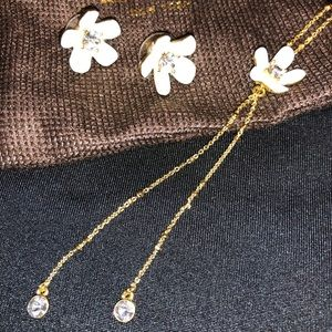 Kate Spade white flower necklace & earring set